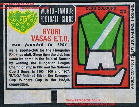 1970 Anglo Gum waxy paper insert World Famous Football Clubs Győri ETO Vasas